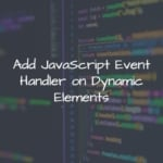Add JavaScript Event Handler