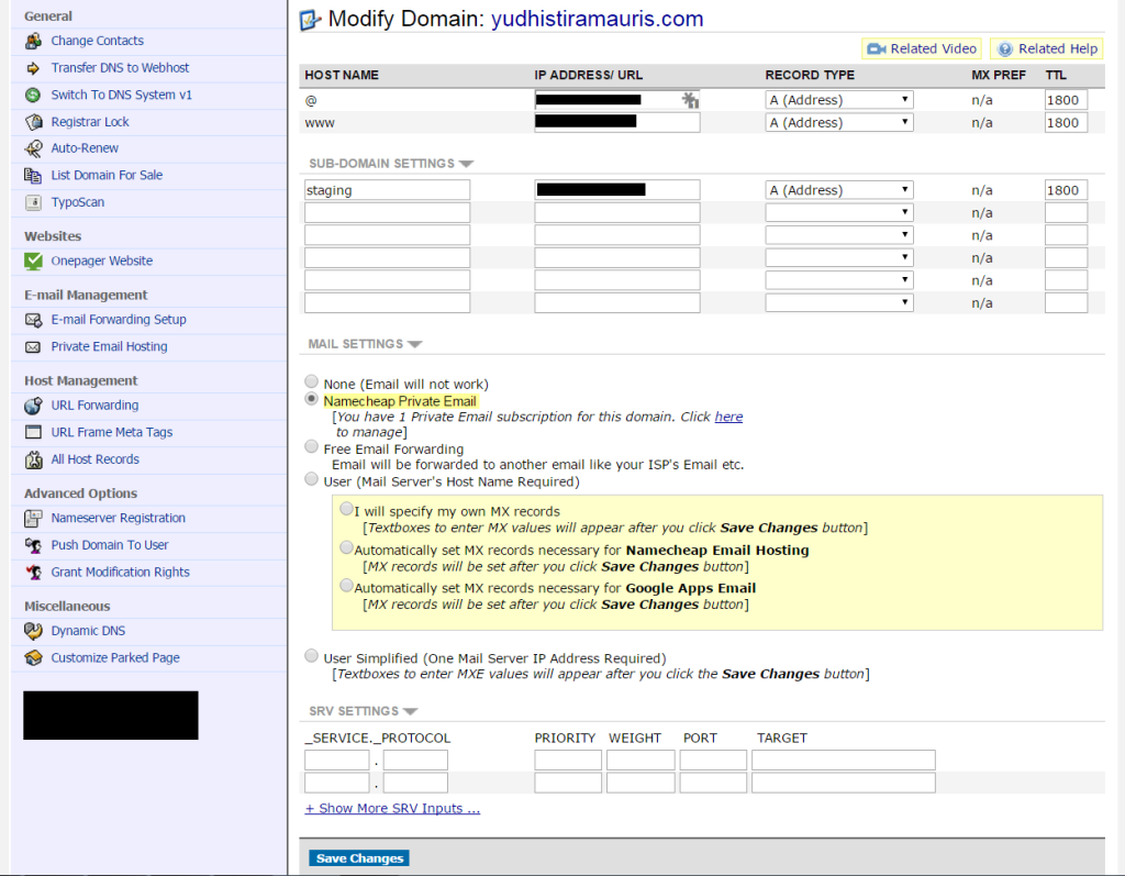 configure website email on different servers step 4